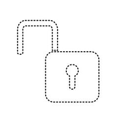 Unlock sign black dashed vector