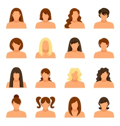 Woman Hairstyle Icons Set vector image vector image