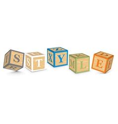 Word style written with alphabet blocks vector