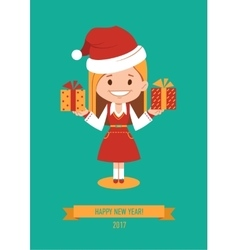 Template of holiday postcard new year 2017 card vector