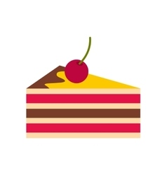Cake with cherries icon flat style vector