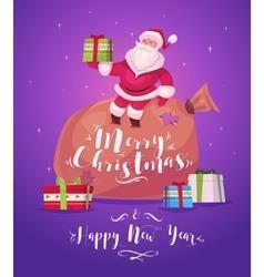 Funny santa Christmas greeting card background vector image