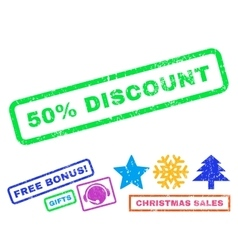 50 percent discount rubber stamp vector