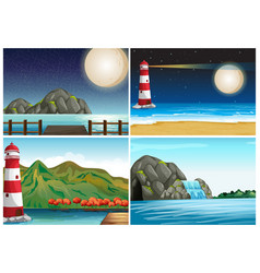 Four scenes with lighthouse and ocean vector