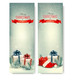Two retro holiday banners with gift boxes and vector
