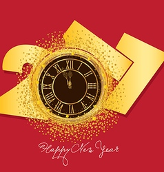 2017 shiny new year clock background vector