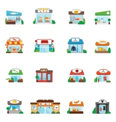 Store building flat vector