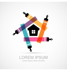 Colorful paint brushes with house symbol icon vector
