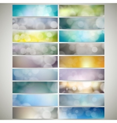 Blurry backgrounds set with bokeh effect web vector