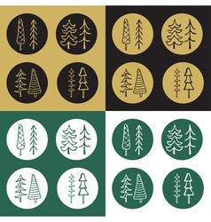 Icons set of cartoon fir tree stickers vector