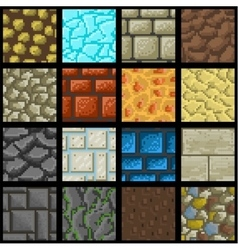 Collection of seamless pixel ground textures vector