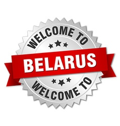 Belarus 3d silver badge with red ribbon vector