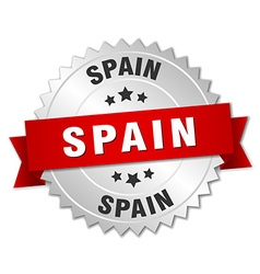 Spain round silver badge with red ribbon vector