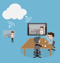a of business people video conferencing by cloud vector image vector image