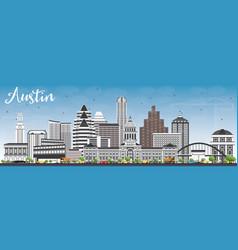 Austin skyline with gray buildings and blue sky vector