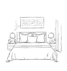 Bedroom modern interior sketch vector image