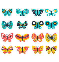 butterfly icons set vector image