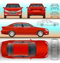 Car red set all view color and vector