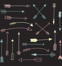 Chalkboard hand draw arrow vector