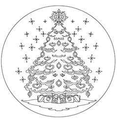 Christmas tree coloring mandala vector image