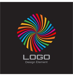Colorful bright rainbow spiral logo on black backg vector