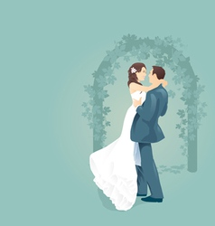 Couples love with wedding gate vector