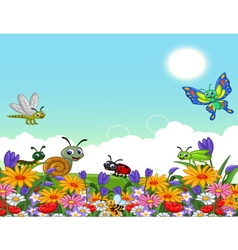 cute collection of insects in the flower garden vector image vector image