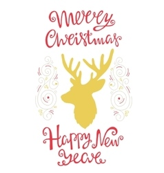 Deer and handdrawn lettering for greeting cards vector