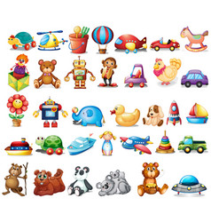 different types of toys vector image vector image