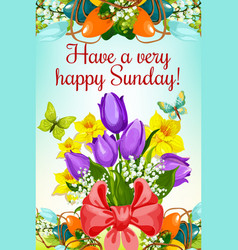 easter eggs with bunch of flowers greeting card vector image