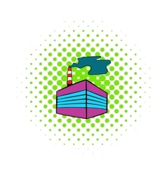 Factory building icon comics style vector image