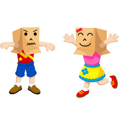 Funny children cartoon playing cardboard vector