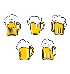 Glass beer tankards vector image vector image