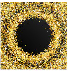 Gold glitter frame with empty space for text vector