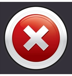 No button Cancel icon red round sticker vector image