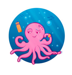 Pink cartoon octopus octopus athlete vector