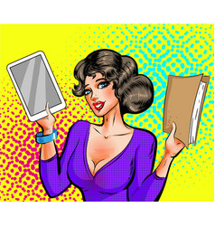 Pop art beautiful woman with book and e vector