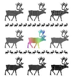 Reindeer silhouette mosaic set vector image vector image