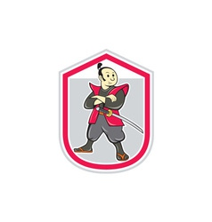 Samurai Warrior Arms Folded Shield Cartoon vector image