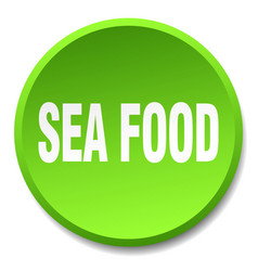 Sea food green round flat isolated push button vector