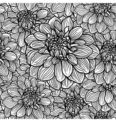 Seamless floral pattern white and black vector