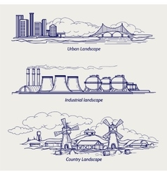 Sketch urban country and industrial ladscapes vector