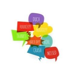 Text colored set speech bubble glitch style vector