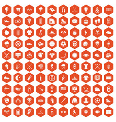 100 baseball icons hexagon orange vector