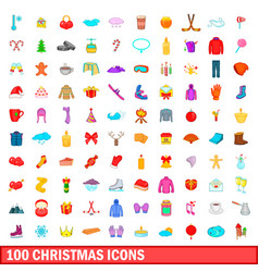 100 christmas icons set cartoon style vector