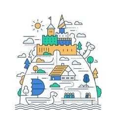 Ancient city life - line design composition vector