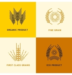 Harvesting logos with wheat grains vector