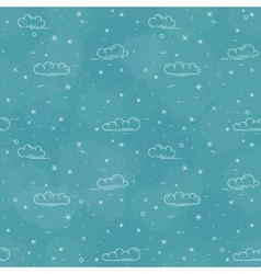 Snow and clouds pattern on blue background vector