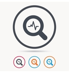 Heartbeat in magnifier icon cardiology symbol vector