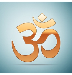 Gold sign om symbol of buddhism and hinduism vector